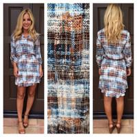 Sky Formations 3/4 Sleeve Dress - BLUE