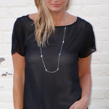Short Sleeve High Low Top with Slit Back - Black/White – H.C.B.