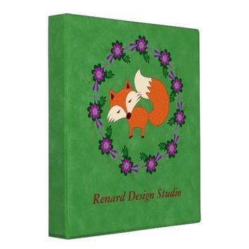 Trendy Fox/Floral Wreath Binder