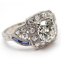 Art Deco Antique Old Mine Cut Diamond Engagement Ring w/Sapp... - Polyvore