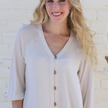 Button Front Blouse - Ivory – H.C.B.