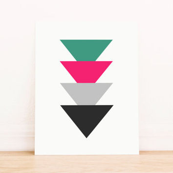 Triangle Green Pink and Black Art PRINTABLE Art Dorm Decor Typography Poster Home Decor Office Decor Apartment Poster