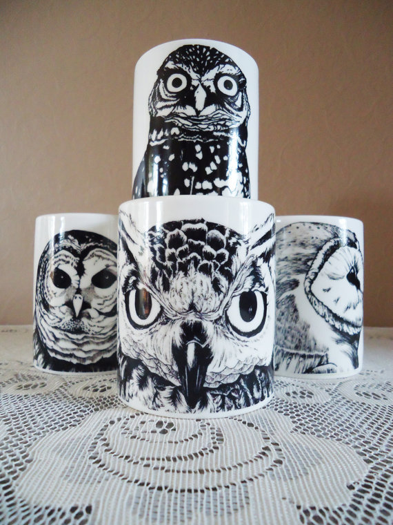 Set Of Four Black Bone China Owl Mugs