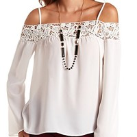 Crochet-Topped Cold Shoulder Swing Top by Charlotte Russe