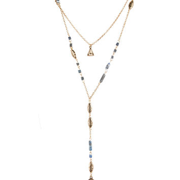 LAYERED ANTIQUE BOHO STONE NECKLACE - ANTIQUE GOLD/BLUE