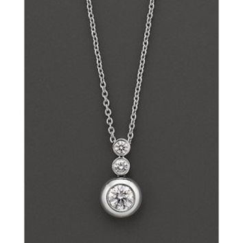 Roberto Coin 18 Kt. White Gold Bezel-Set Diamond Pendant - Polyvore