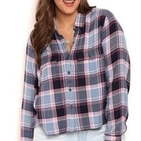 Plus Size Button Front Vintage Washed Plaid Top