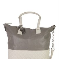 2 Tone Tote Bag with Quilted Bottom