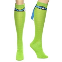 TMNT Teenage Mutant Ninja Turtles Leonardo Blue Mask Knee High Socks