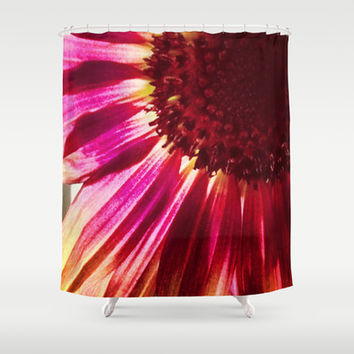 Pink Sunflower Shower Curtain by Legends of Darkness Photography