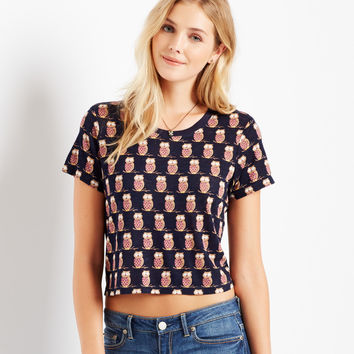 Aeropostale Map to Mars Owl Boxy Crop Tee - Classic Navy,