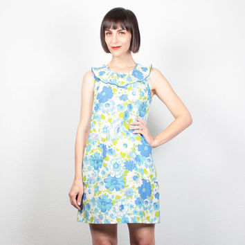 Vintage 60s Dress Blue Green Floral Print Mini Dress Shift Dress 1960s Dress Ruffle Collar Smock Dress Mad Men Dress Sundress S M Medium