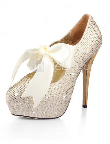 [US$ 149.99] Satin Stiletto Heel Closed Toe Pumps Party / Evening Shoes With Rhinestone