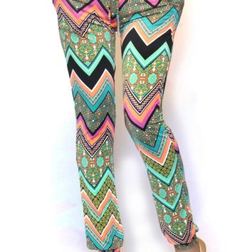 Colorful Silky Chevron Jogger Pants
