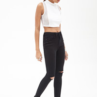 High-Waisted - Distressed Skinny Jeans