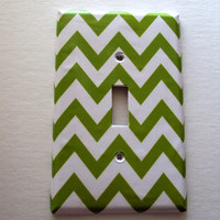 New Grass Chevron Single Switchplate Cover Zig Zag Graph Pattern Ready For Shipping