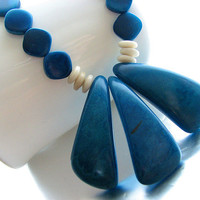 Tagua Necklace, Bright Blue Tagua Nut Pendant, Blue and Cream Tagua Beads, Copper Link Chain, Eco Friendly Jewelry, OOAK
