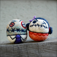 Mr and Mrs Zombie Egg WOOLIES OOAK Ready to Ship