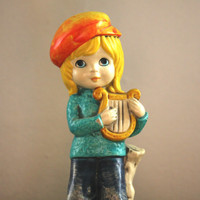 Hippie Flower Child With A Harp Statue Figurine.  Vintage Ceramic Retro Little Girl in Bell Bottoms Home Decor