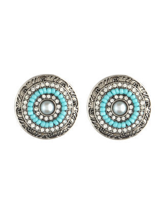 Aqua-Bead Disk Earrings