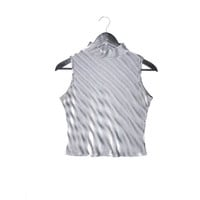 cropped turtle neck / 90s CLUB KID psychedelic ILLUSION ribbed tank crop top