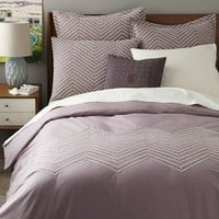 Cord Embroidered Duvet Cover, Full/Queen, Light Amethyst