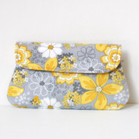 yellow and grey clutch, floral clutch, cotton clutch, simple bridesmaid clutch, bridesmaid gift, wedding clutch