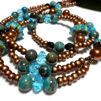 Lanyard Beaded with Copper Brown Pearls Aqua Blue Crystals Jasper Czech Glass Handmade with Angel Strong Magnetic Breakaway Clasp