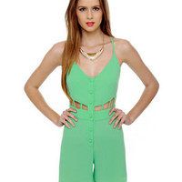 Cute Mint Green Romper - Cutout Romper - Green Playsuit - $51.00