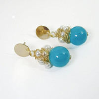 Pearlescent seed beads and glass beads wire wrapped earrings /delicate turquoise blue and white stud earrings
