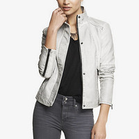 HIGH COLLAR DISTRESSED (MINUS THE) LEATHER JACKET from EXPRESS