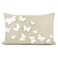 Growing butterflies pillow case - White felt butterfly appliques on natural beige canvas accent pillow cover - 12x18 pillow cover