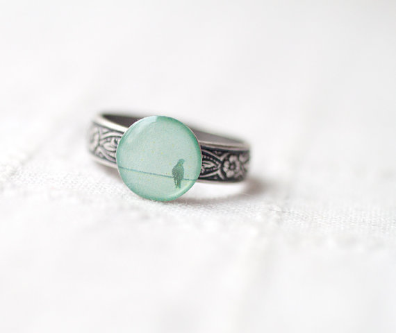 Mint bird ring - Summer jewelry - Pastel trend - christmasinjuly CIJ (R040)