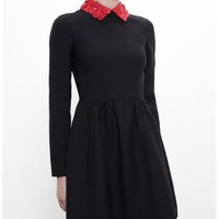 VALENTINO | Dress with Floral Red Leather Collar | Browns fashion & designer clothes & clothing