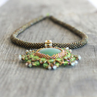 Crochet beads rope necklace brown with green aventurine pendant, fashion jewelry, seed beads jewelry, beadwork