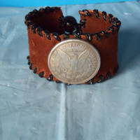 Cuff Bracelet Suede With Immitation Silver Dollar One of a kind