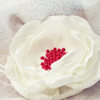 Floral Pin Brooch Fabric Flower ivory poppy off white peony red beaded center huge handmade