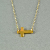 Sideways Cross Necklace, 24K Gold Vermeil, 14K Gold Filled Chain, Modern, Simple, Delicate, Everyday Wear Necklace