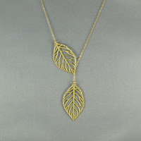 Double Leaf Necklace, Leaf Lariat, 14K Gold Filled Chain, Modern, Pretty, Everyday Jewelry