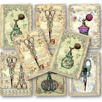 Victorian Perfume Bottle Scissors Digital Collage Sheet Vintage Digital Download Cards Scrapbooking Supplies Set 277