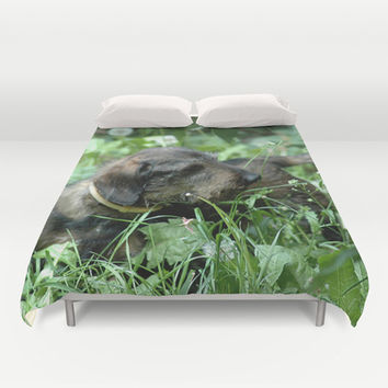 Doxie Love Duvet Cover by Erika Kaisersot