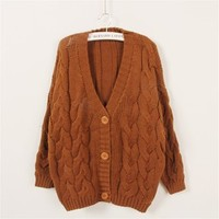 Funshop Woman's Braid V Neck Sweater Cardigan 081237 Color Khaki