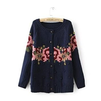 Woman's Floral Pattern Sweater Cardigan with Balls Detail