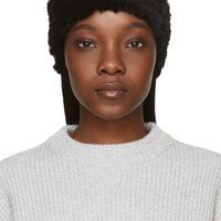 Meteo By Yves Salomon Black Knit Rabbit Fur Beanie