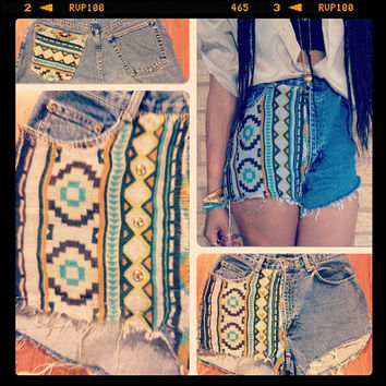 Tribal aztec print pocket vintage high waist 80's cut off denim