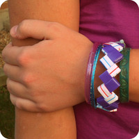 Bright Zigzag Chevron Style Bracelet in Grape Splash - Ziggibandz