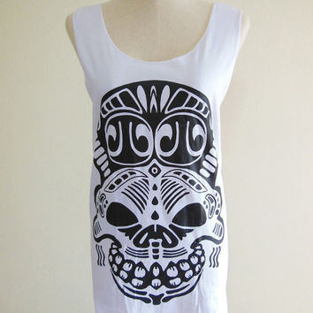 Hog Pig Skull Zombie Bone Goth Gothic -- Skull Design Art Women Tank Top Tunic Sleeveless Skull T-Shirt White T-Shirt Size S