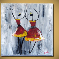 SALE Original Red Ballerina Ballet Painting Textured Modern Palette Knife Impasto Fine Art by Orit Baron 12x12