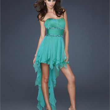 Strapless High-low With Beaded Waistband Ruffled Chiffon Prom Dress PD1921