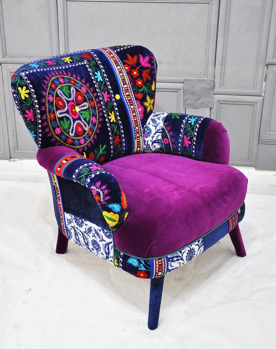 Patchwork armchair with Suzani fabrics from name design studio